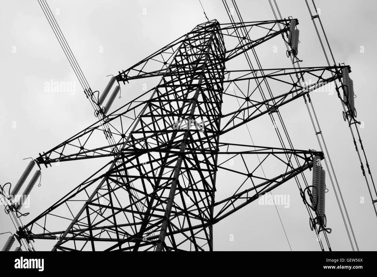 National Grid powerlines invade the country near Hambledon, Hampshire, England - Stock Image