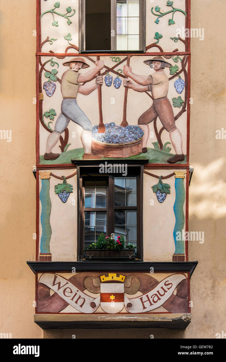 Oriel decorated with mural paintings in the old town, Innsbruck, Tyrol, Austria - Stock Image