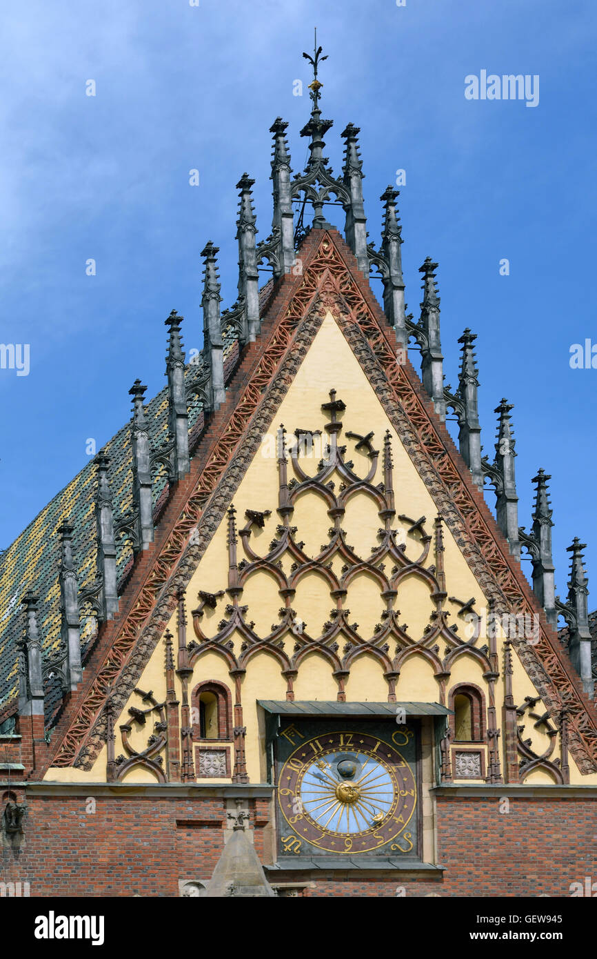 Detail of the Town Hall on Market Square in the Old Town of Wroclaw - Poland. - Stock Image