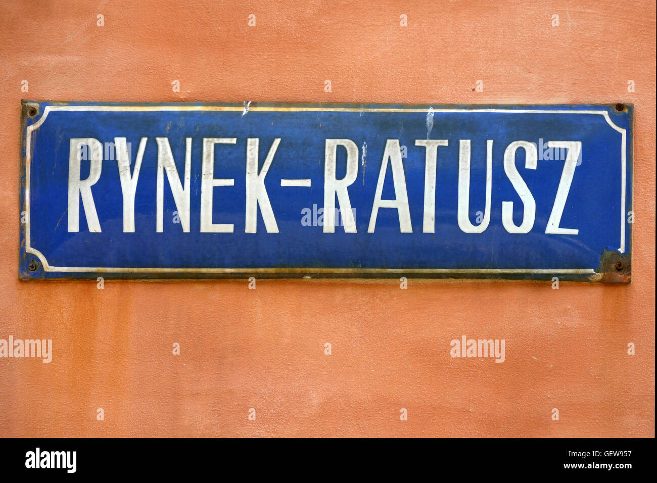 Street sign of Rynek Ratusz on Market Square in the Old Town of Wroclaw - Poland. Stock Photo