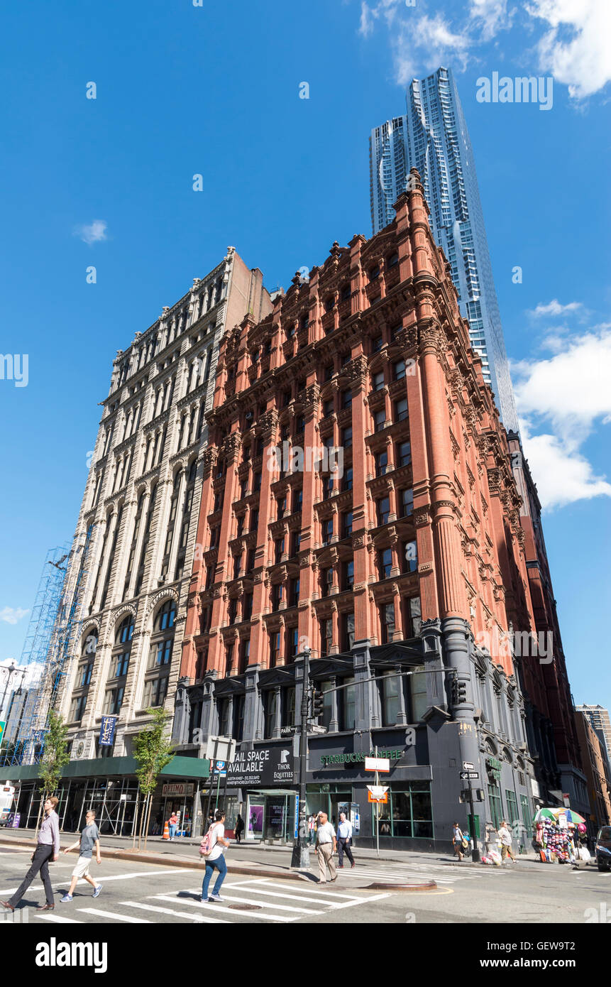 Landmarked buildings (Potter Building and old New York Times Building) on Park Row in Civic Center area of New York - Stock Image