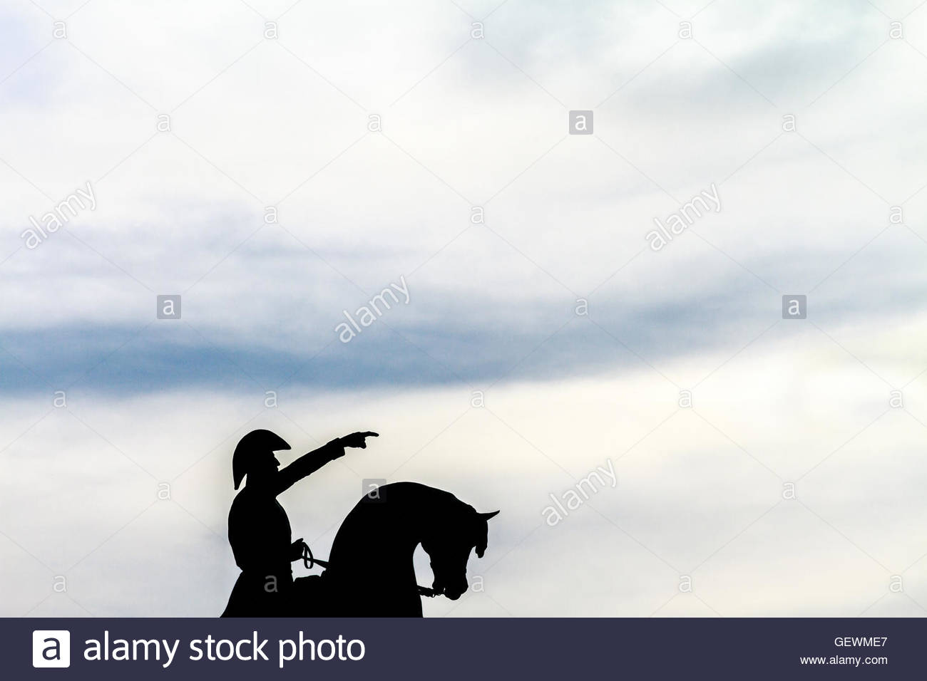 Silhouette of monument to San Martin during sunset in Chascomús, Argentina Stock Photo