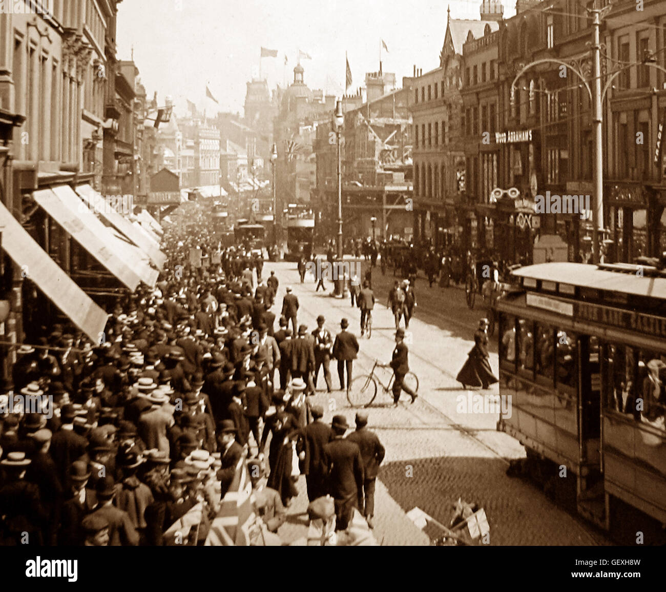 Mafeking Day, Lord Street, Liverpool - early 1900s Stock Photo