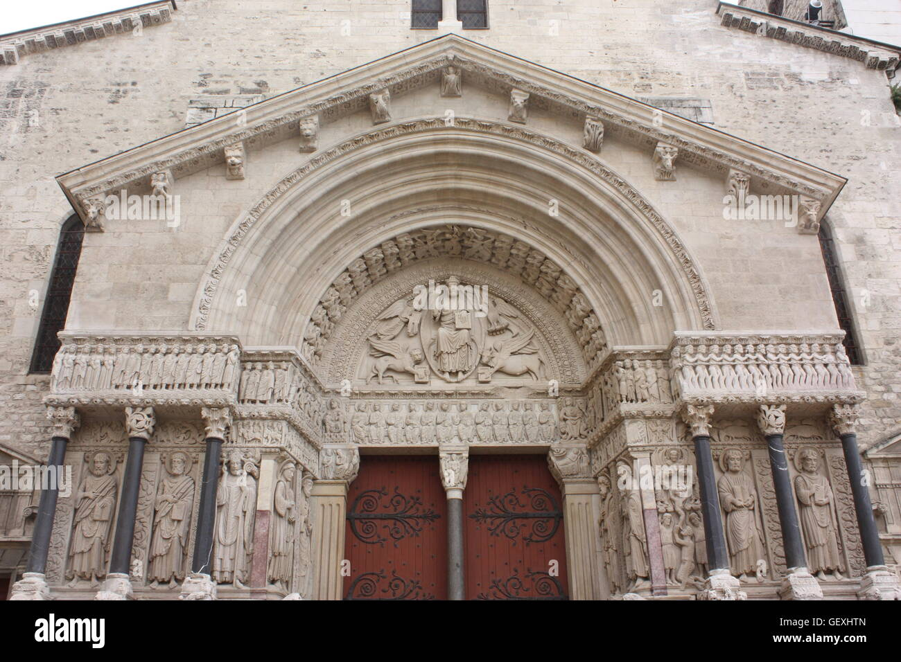 The west front of the Church of St. Trophime in Arles, France Stock Photo