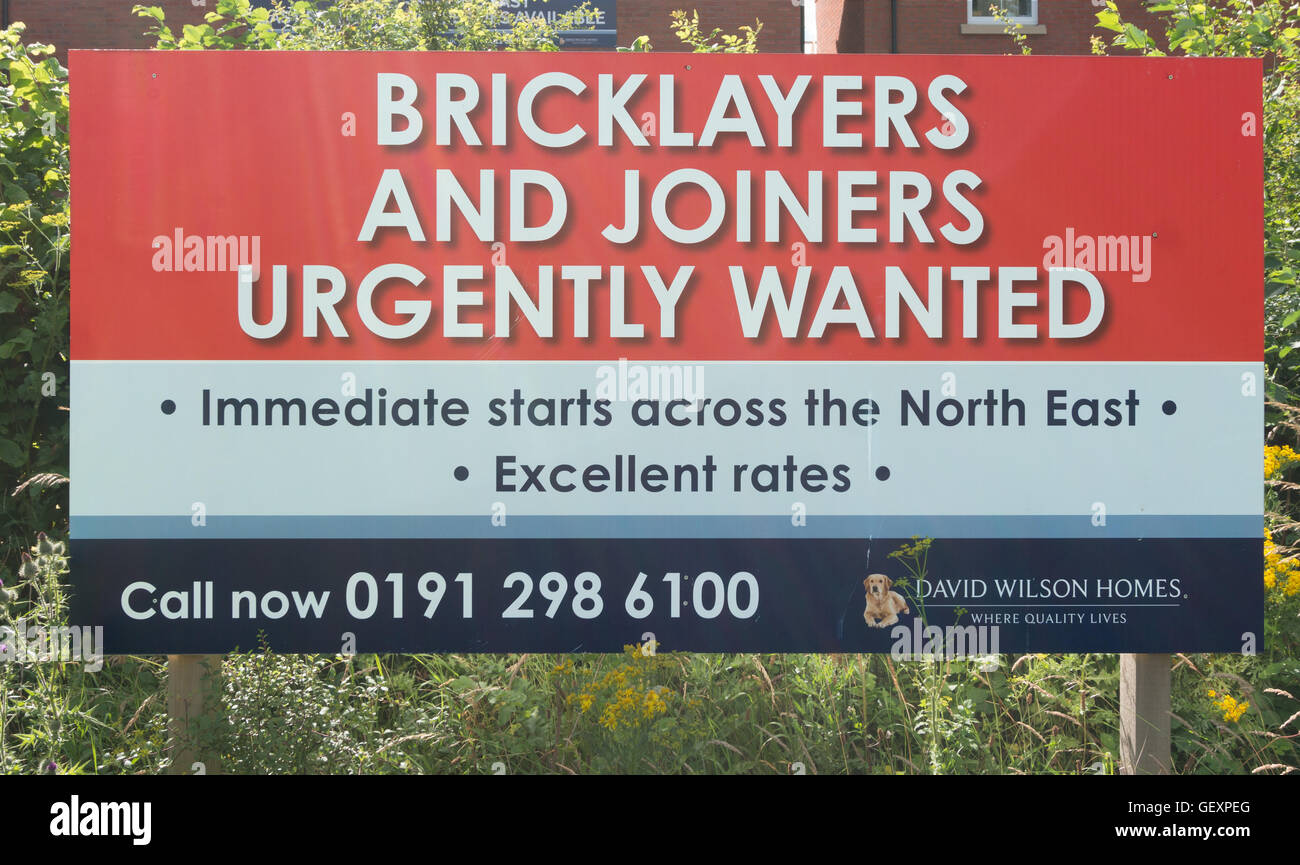 Sign Bricklayers and Joiners urgently wanted, Washington, Tyne and Wear, north east England, UK - Stock Image