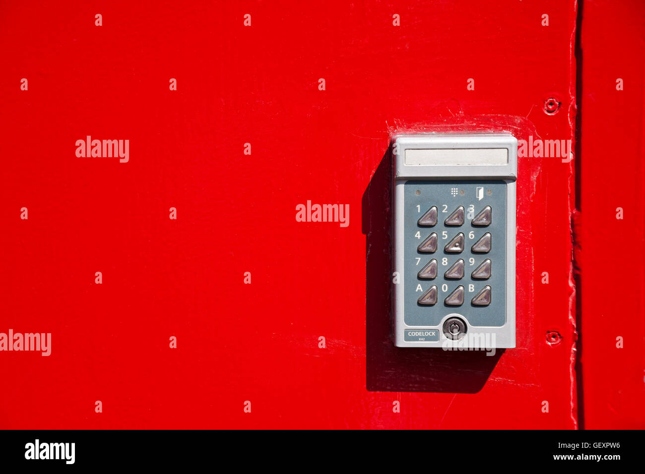 Door Key Code Panel Stock Photos Images Keypad Combination Lock Circuit Bright Red Metal With Electronic Image