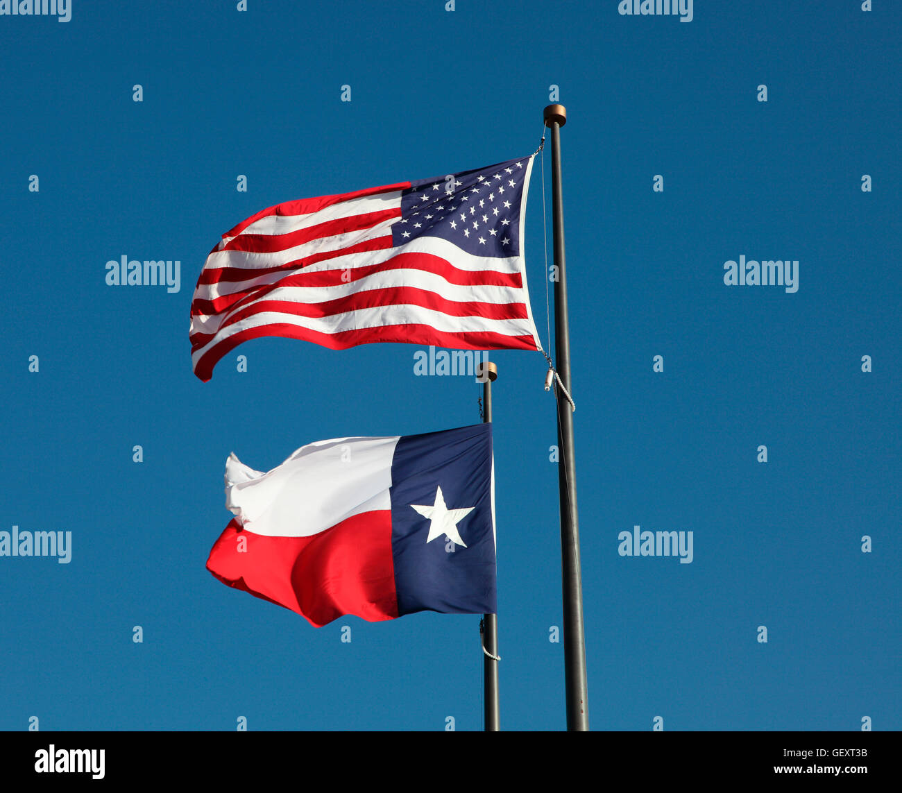 American flag and Texas flag flying at the  LBJ Library in Austin. Stock Photo