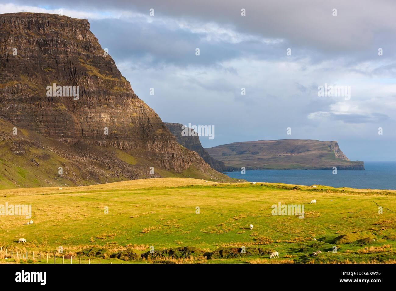 A view towards Waterstein Head and Ramasaig Cliffs. Stock Photo