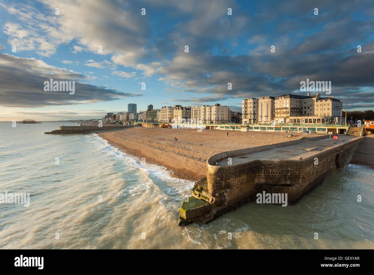 Brighton seafront on an autumn afternoon. Stock Photo