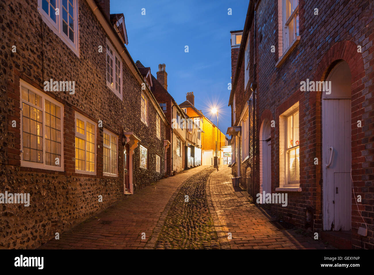 Night falls on Keere Street in Lewes. Stock Photo