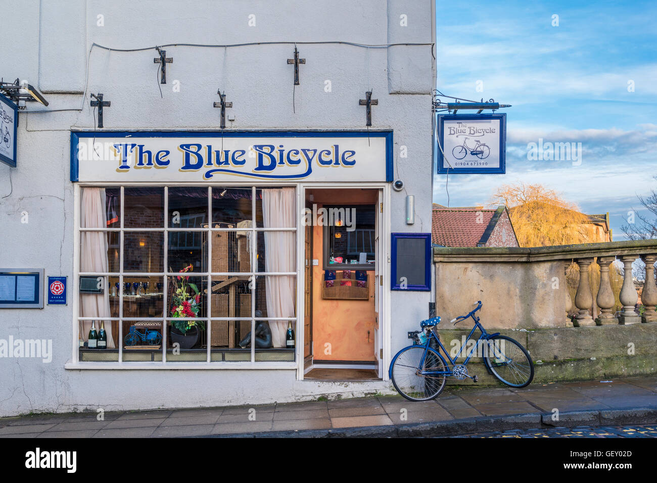 The Blue Bicycle Restaurant on Fossgate in York. - Stock Image