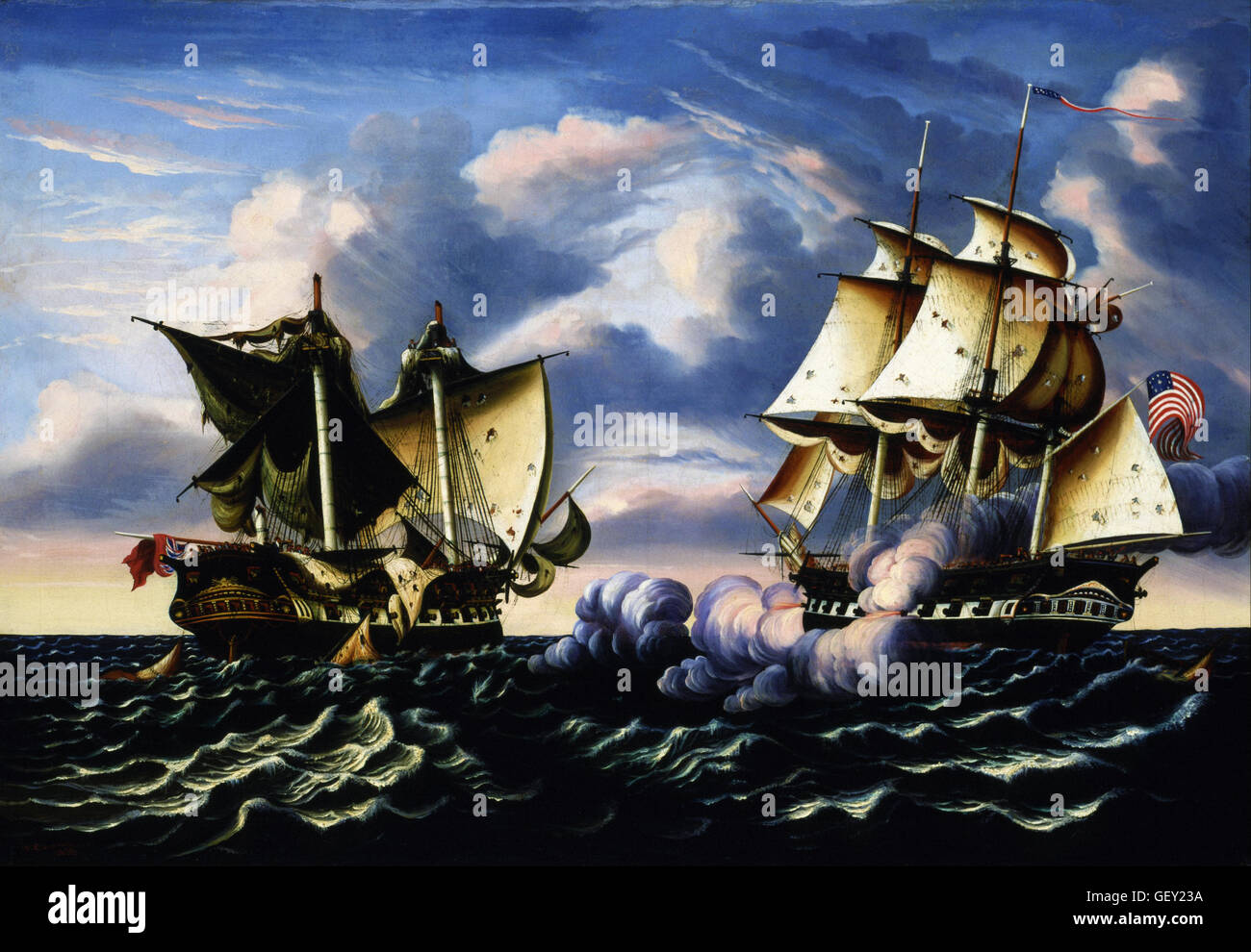 Thomas Chambers - Capture of H.B.M. Frigate Macedonian by U.S. Frigate United States, October 25, 1812 - Stock Image