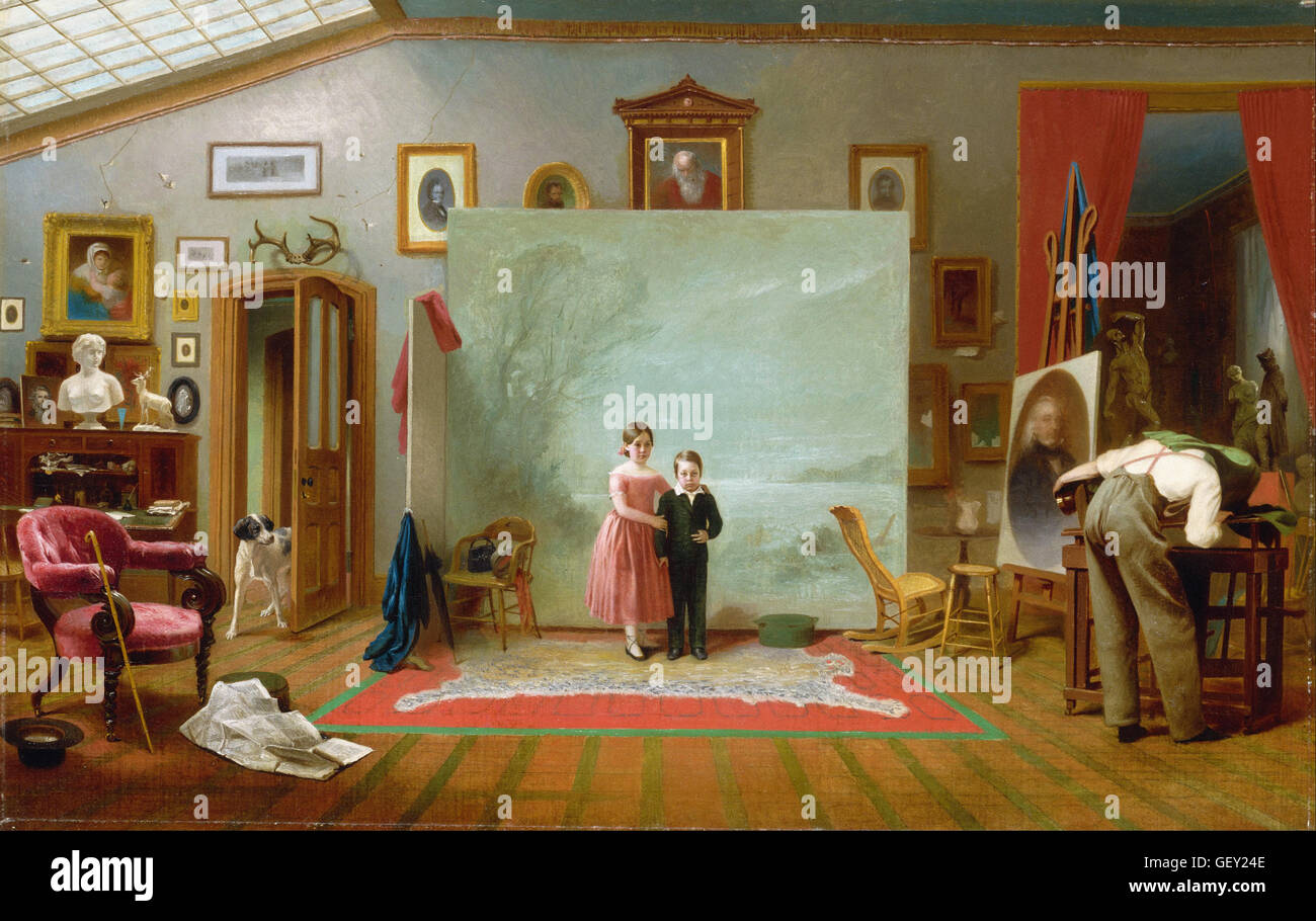 Thomas Le Clear - Interior with Portraits - Stock Image
