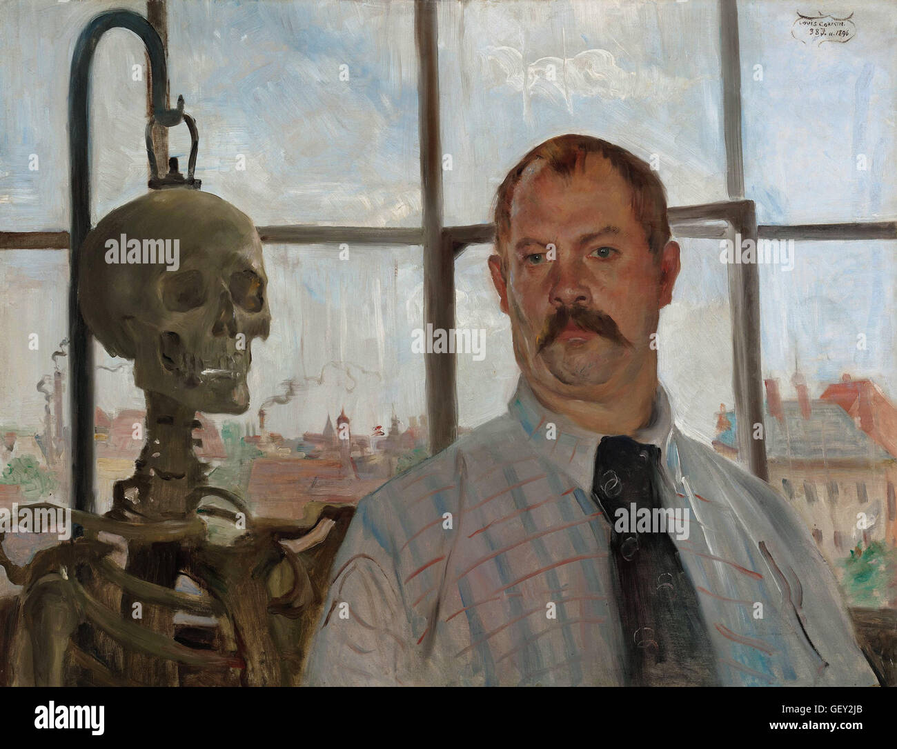 Corinth, Lovis - Selfportrait with skeleton - Stock Image