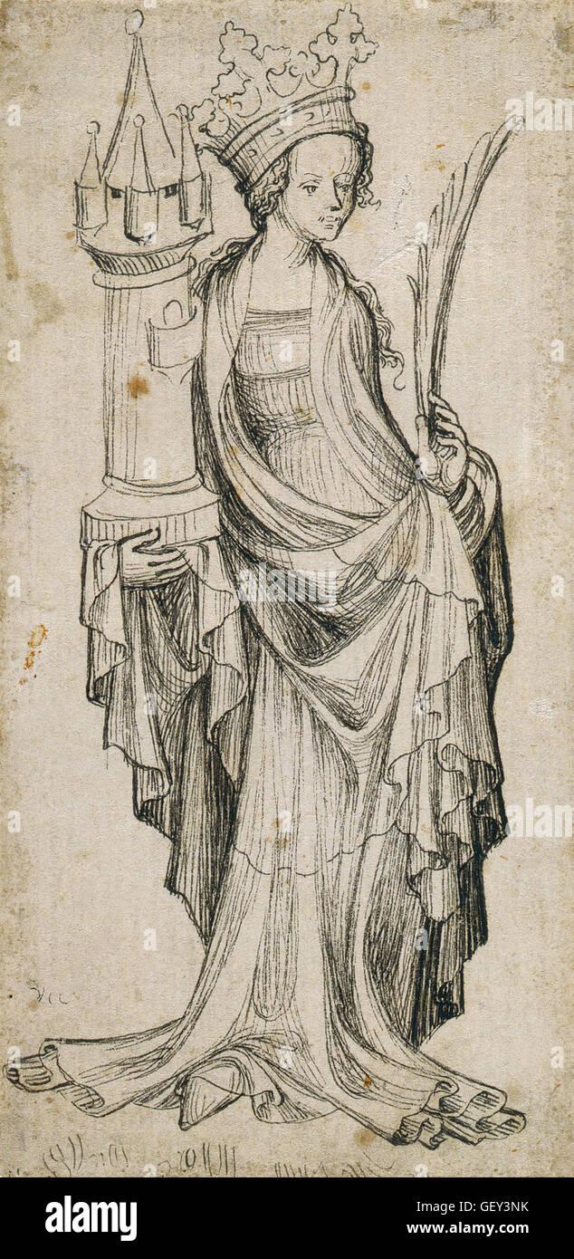 Augsburger Meister - St. Barbara - Stock Image