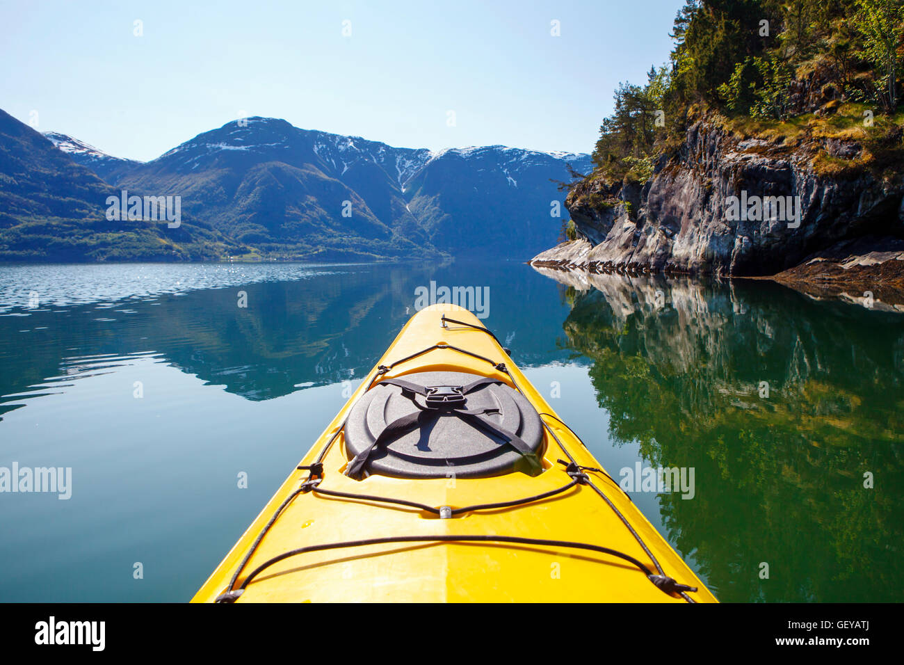 Kayak on Luster Fjord in Sognefjorden, Norway - Stock Image