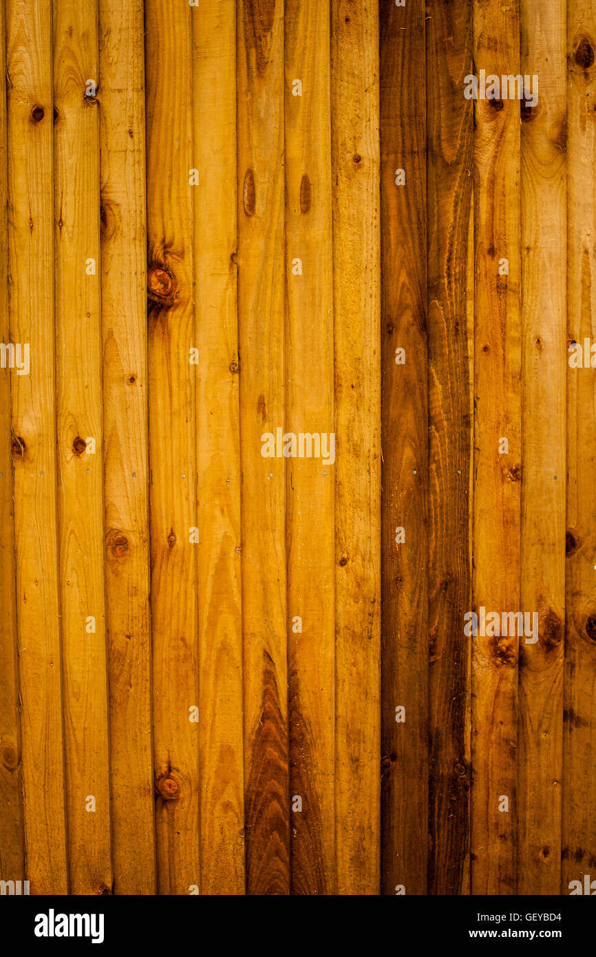 Background texture of a wooden pine fence - Stock Image