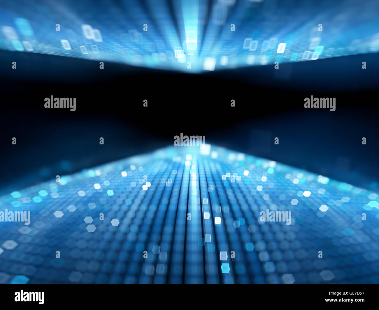 Blue glowing flowing big data stream, computer generated abstract background - Stock Image