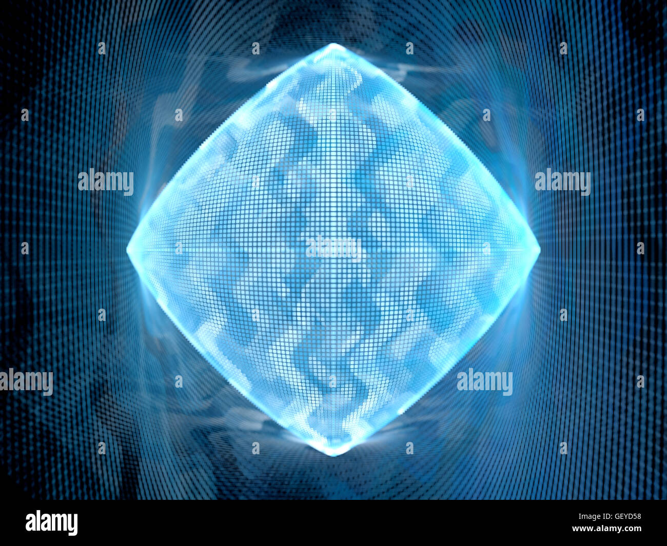 Blue glowing big data system, computer generated abstract background - Stock Image