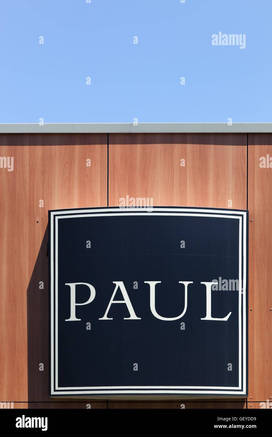 Paul logo on a wall - Stock Image