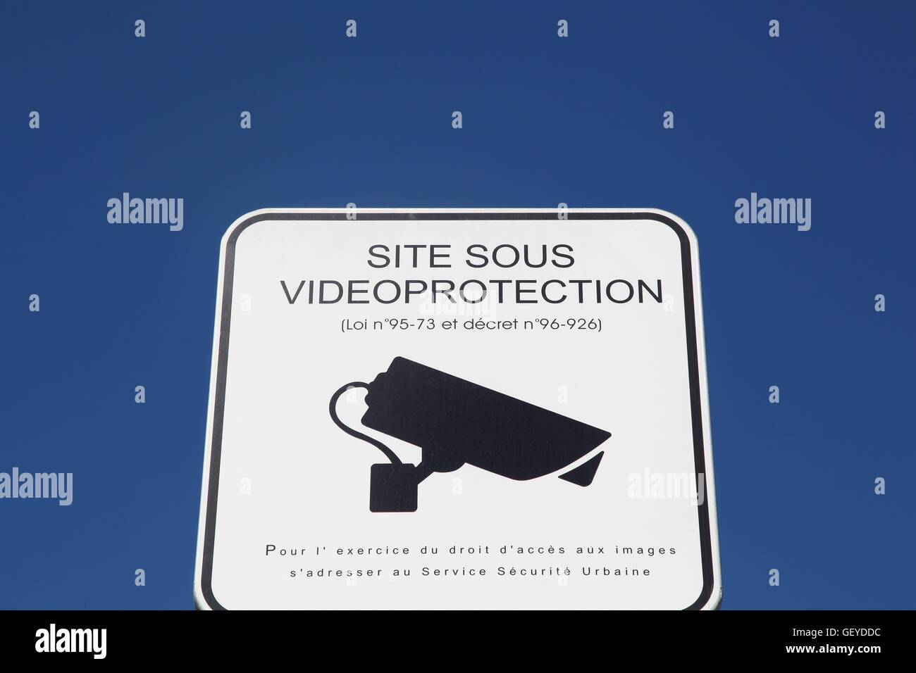Panel in the street of video surveillance in France - Stock Image