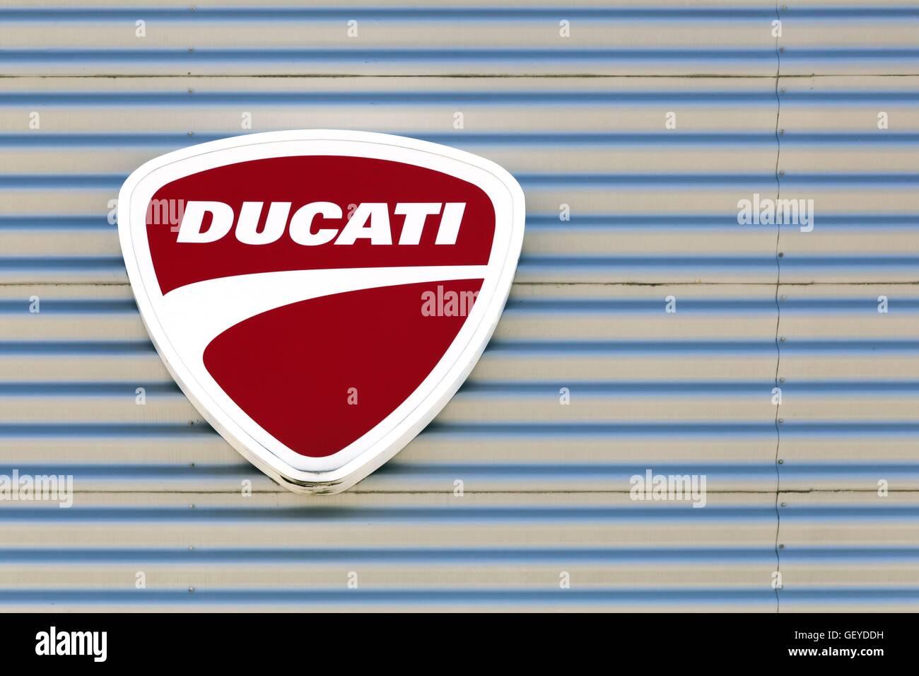 Ducati logo on a wall - Stock Image