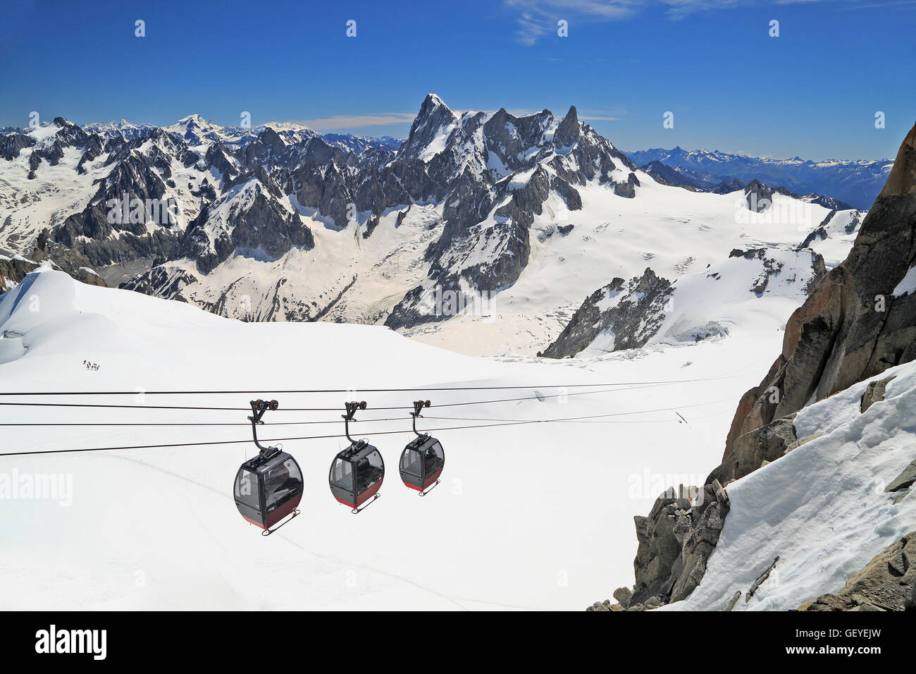 Tourists enjoying the majestic landscape in gondolas from Point Helbronner to Aiguille du Midi, France - Stock Image