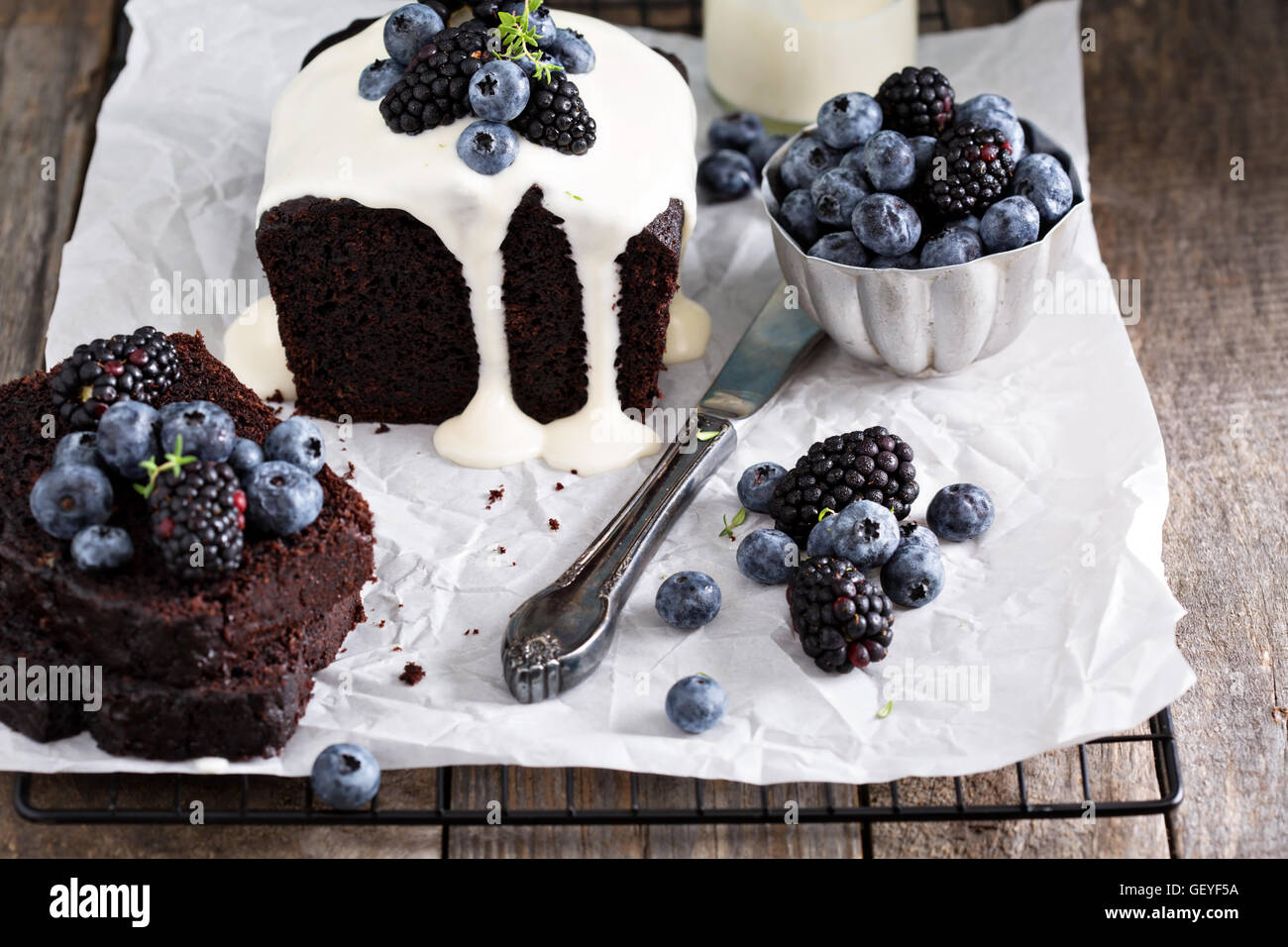 Chocolate loaf cake with thick yogurt glaze - Stock Image