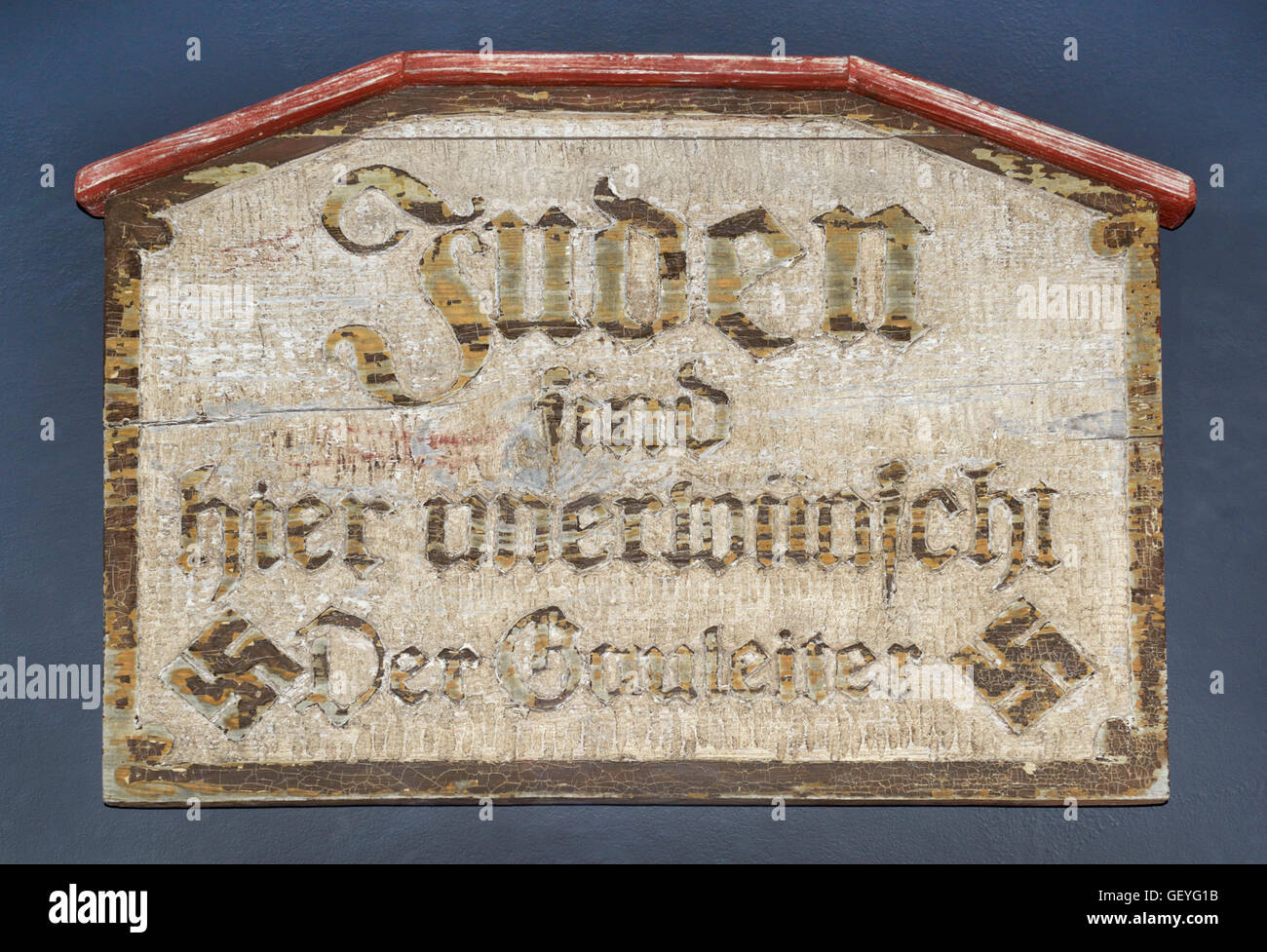 'Jews not wanted here' sign issued by Goebbels, Berlin, early 1930s, Nazi Germany - Stock Image