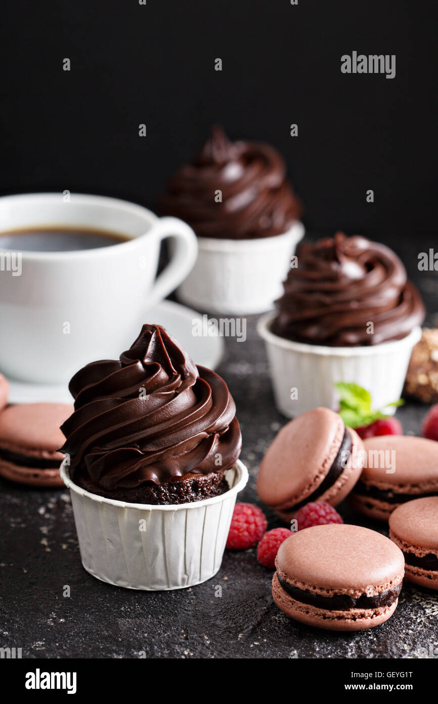 Chocolate cupcakes with thick and glossy frosting - Stock Image