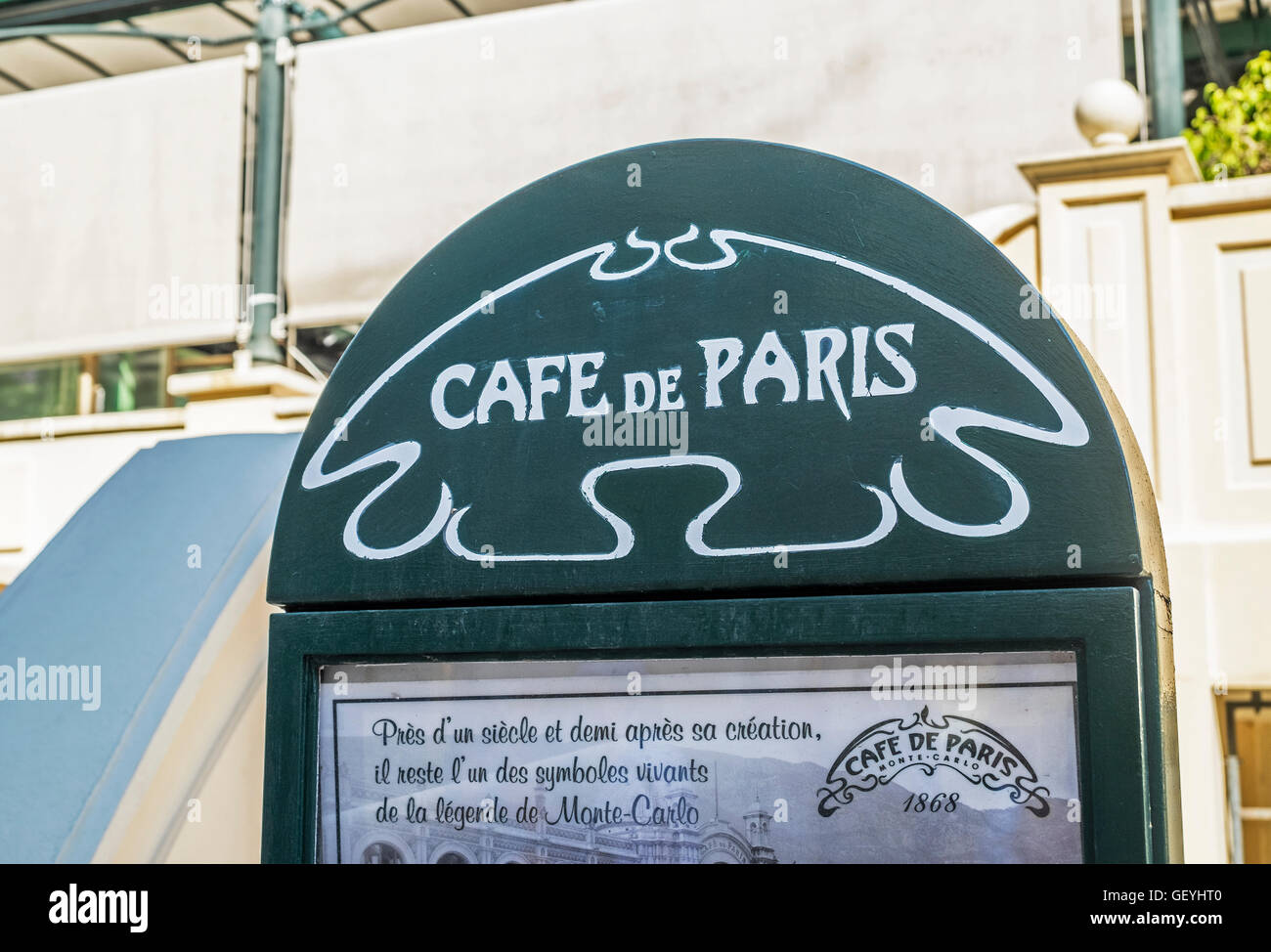 CAFE DE PARIS, Monte Carlo, Monaco - Stock Image