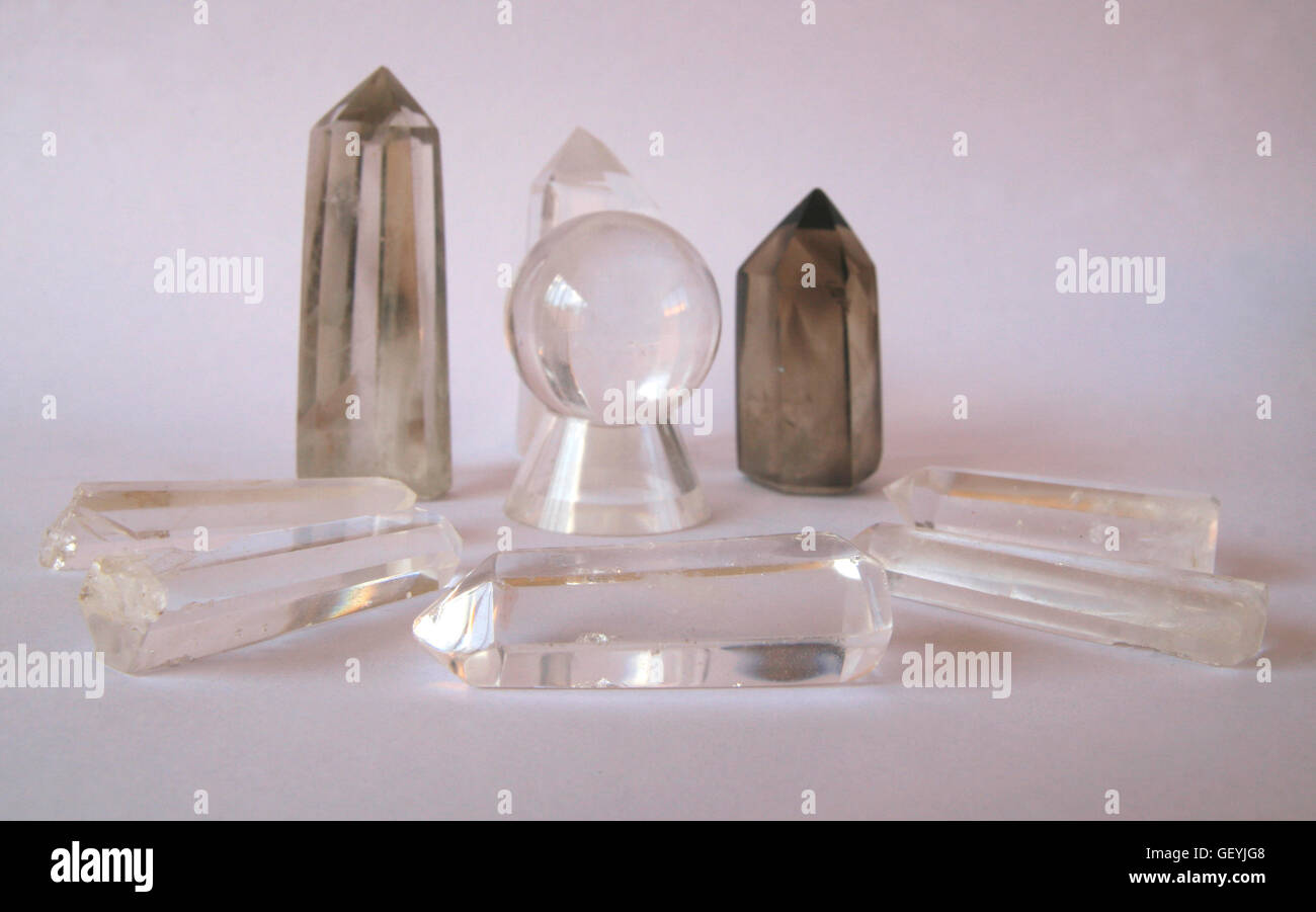 Collection of clear and smokey quartz crystals Stock Photo