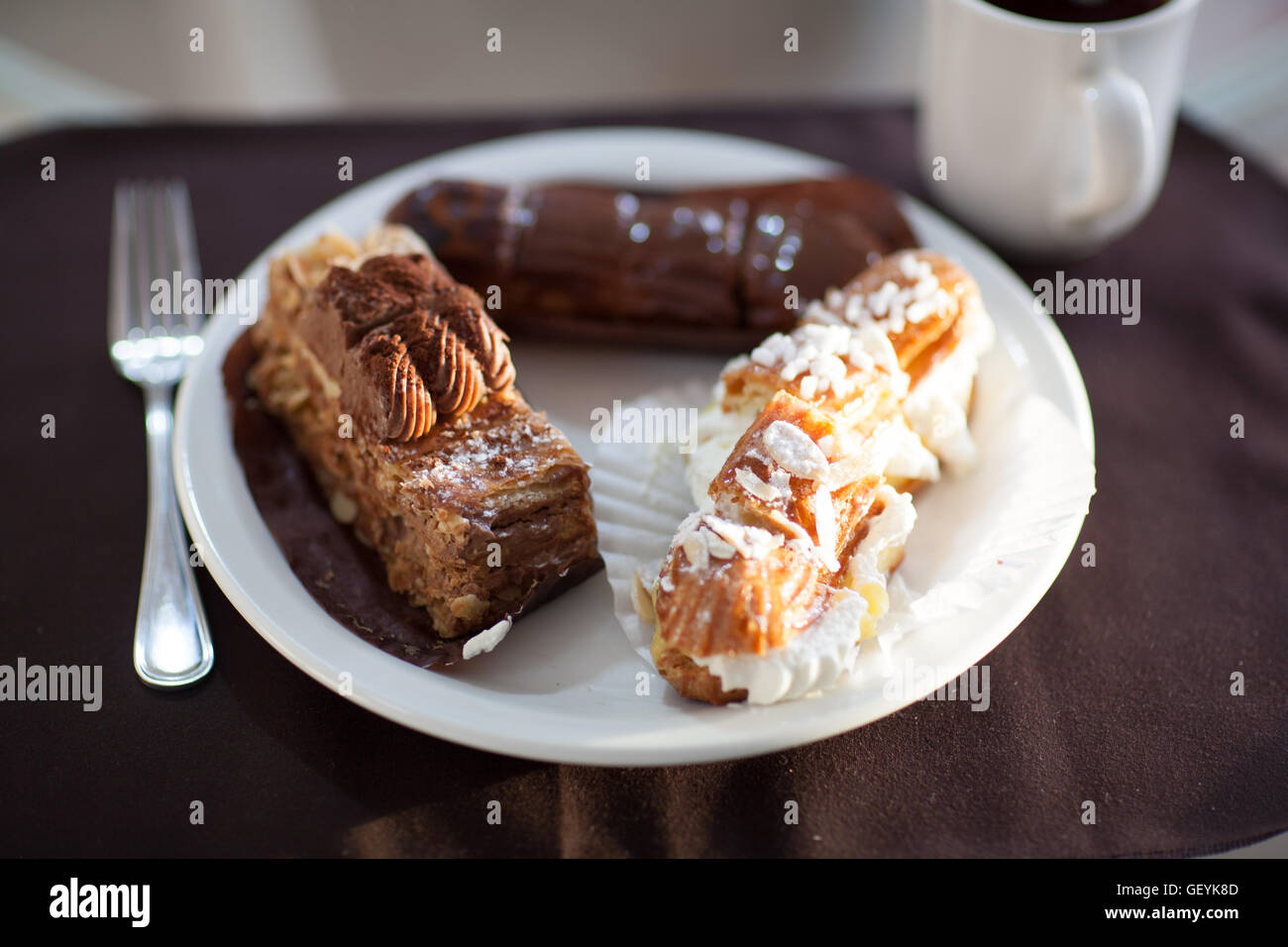 French Deserts on a Plate - Stock Image