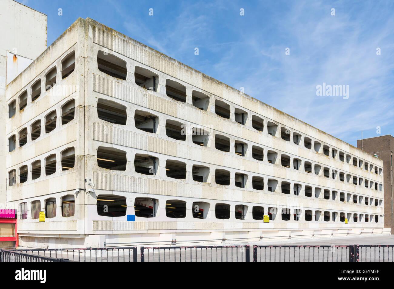 Grafton multi-storey car park in Worthing. Ugly concrete multi-storey car park in Worthing, West Sussex, England, - Stock Image