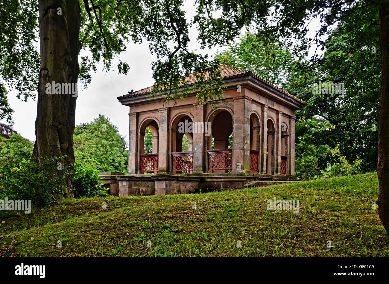 Birkenhead Park's iconic BoatHouse shown from opposite the lake, rather than from the lake. - Stock Image