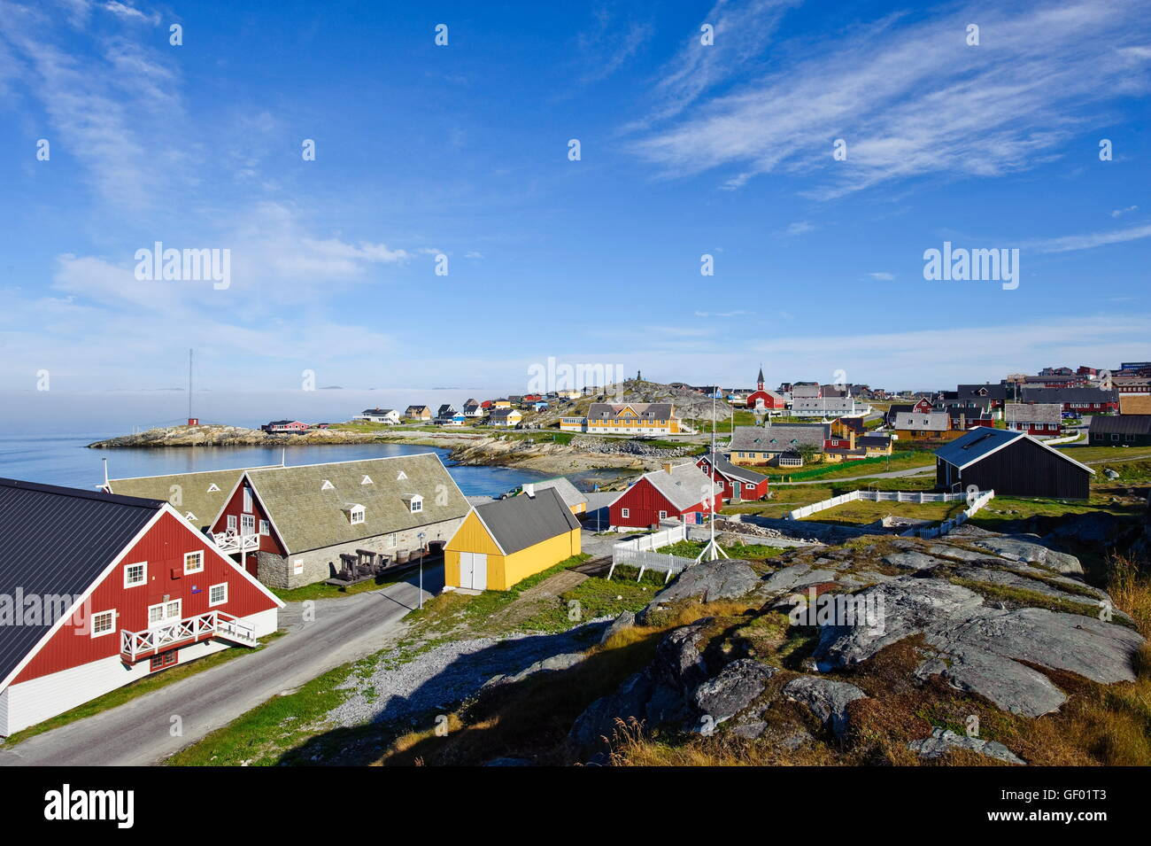 geography / travel, Greenland, west coast, Nuuk, city view, - Stock Image