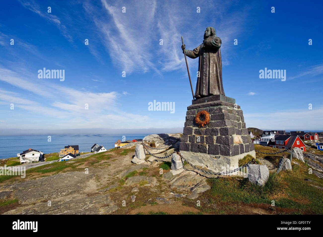 geography / travel, Greenland, west coast, Nuuk, city view, monument, statue of Hans Egede, - Stock Image