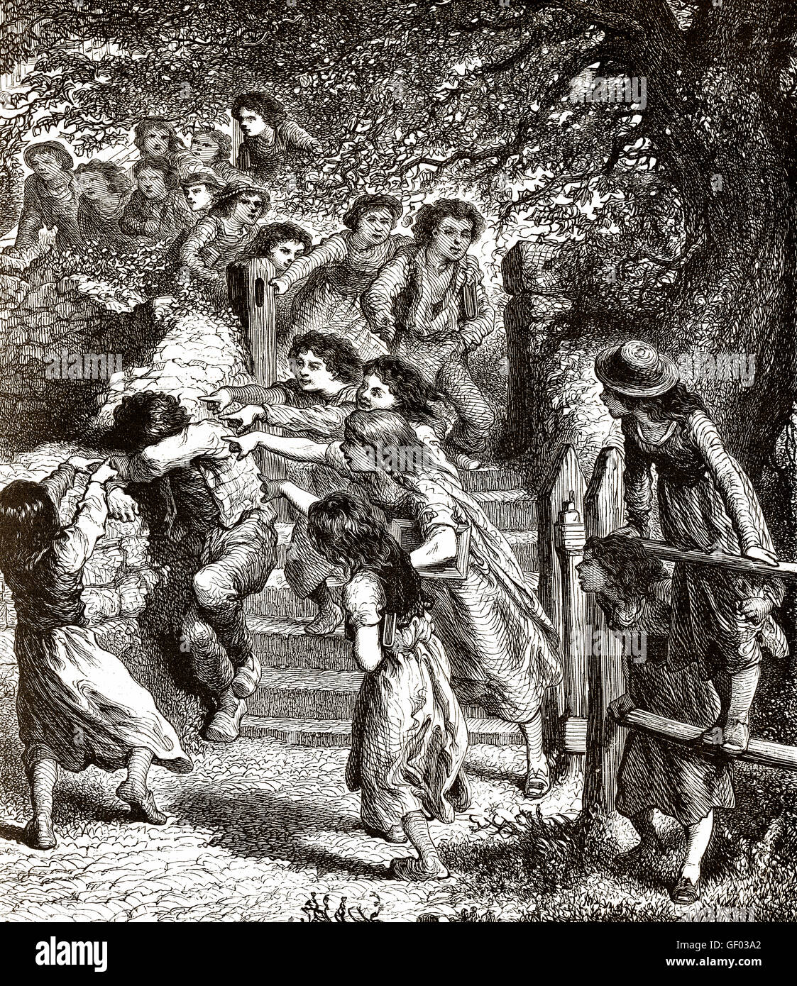 Children bullying of an individual by a group, 19th century - Stock Image