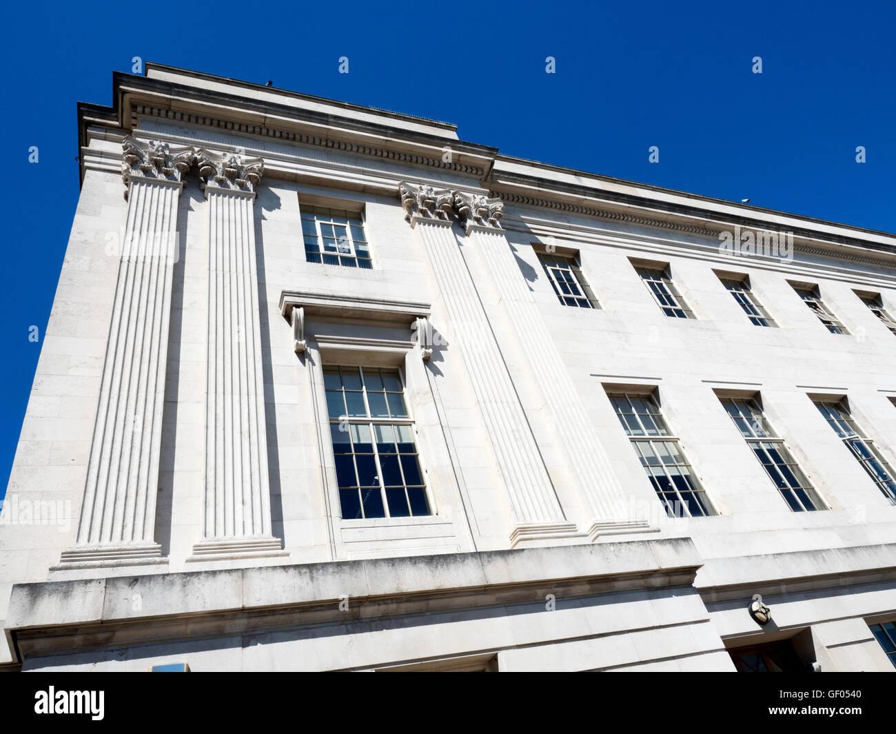 Portland Stone Facade on the Town Hall at Barnsley South Yorkshire England - Stock Image