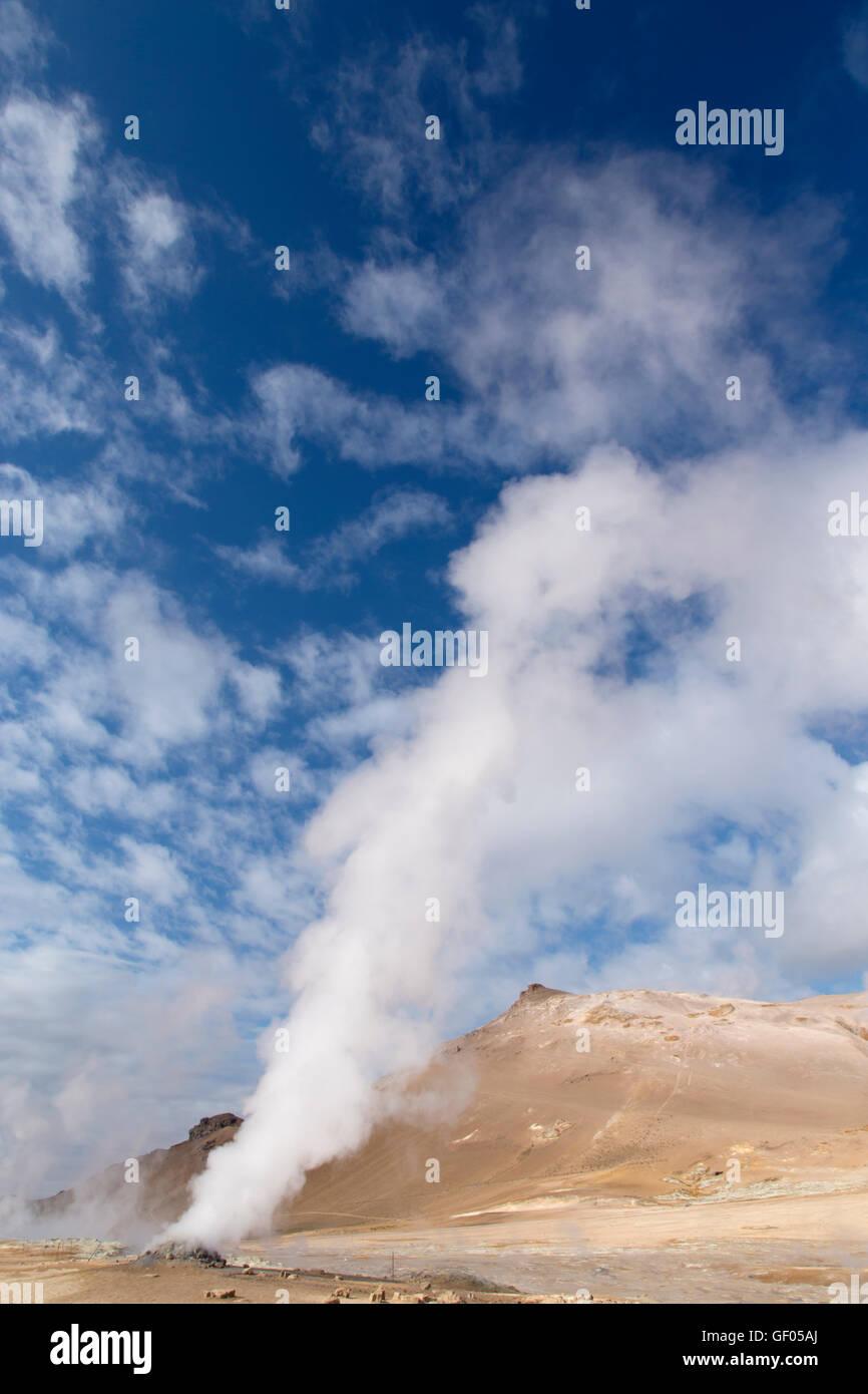 Steam vents at Hverond Lake Myvatn Iceland LA008778 - Stock Image