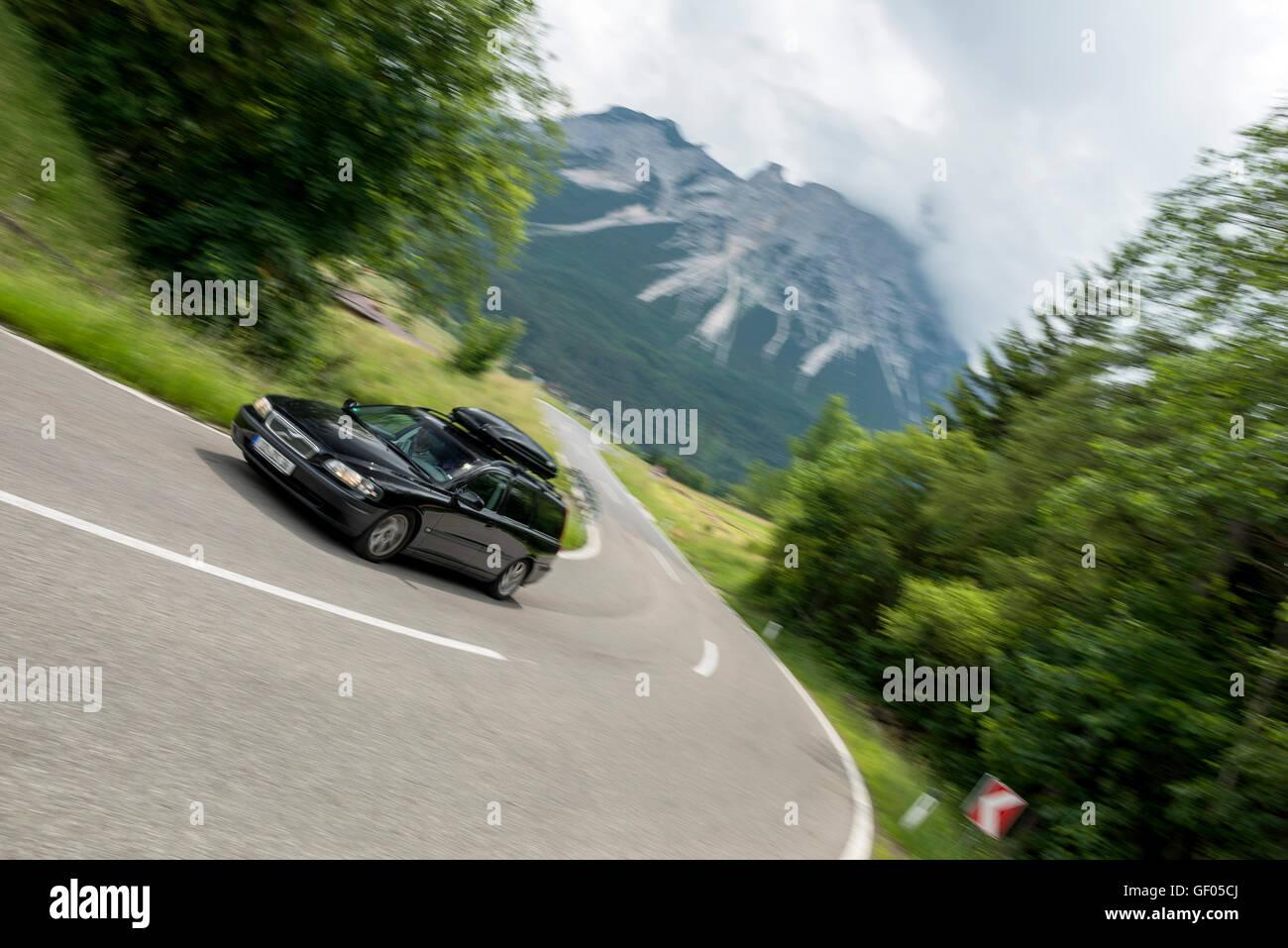 Volvo Break on Tyrolese Road, Austria - Stock Image