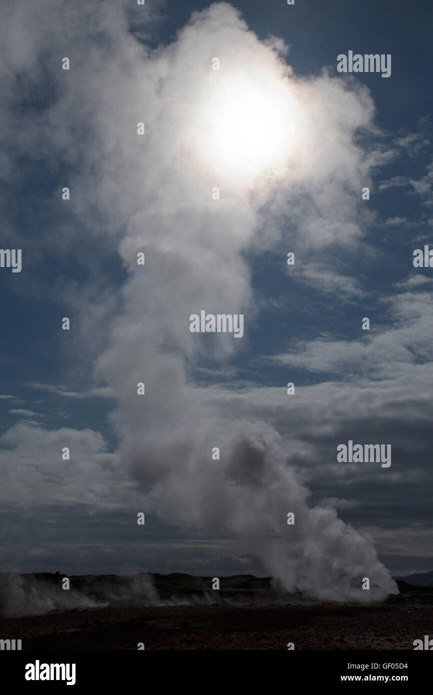 Steam vents at Hverond Lake Myvatn Iceland LA008780 - Stock Image