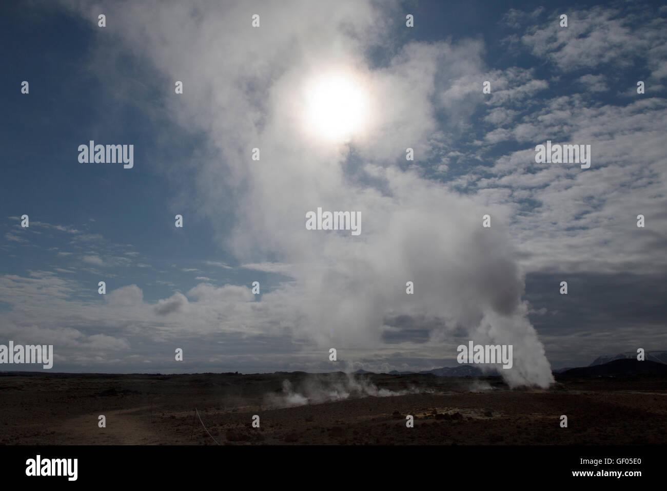 Steam vents at Hverond Lake Myvatn Iceland LA008781 - Stock Image