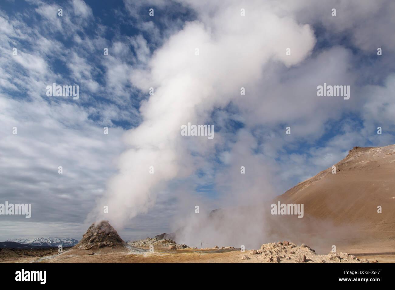 Steam vents at Hverond Lake Myvatn Iceland LA008782 - Stock Image