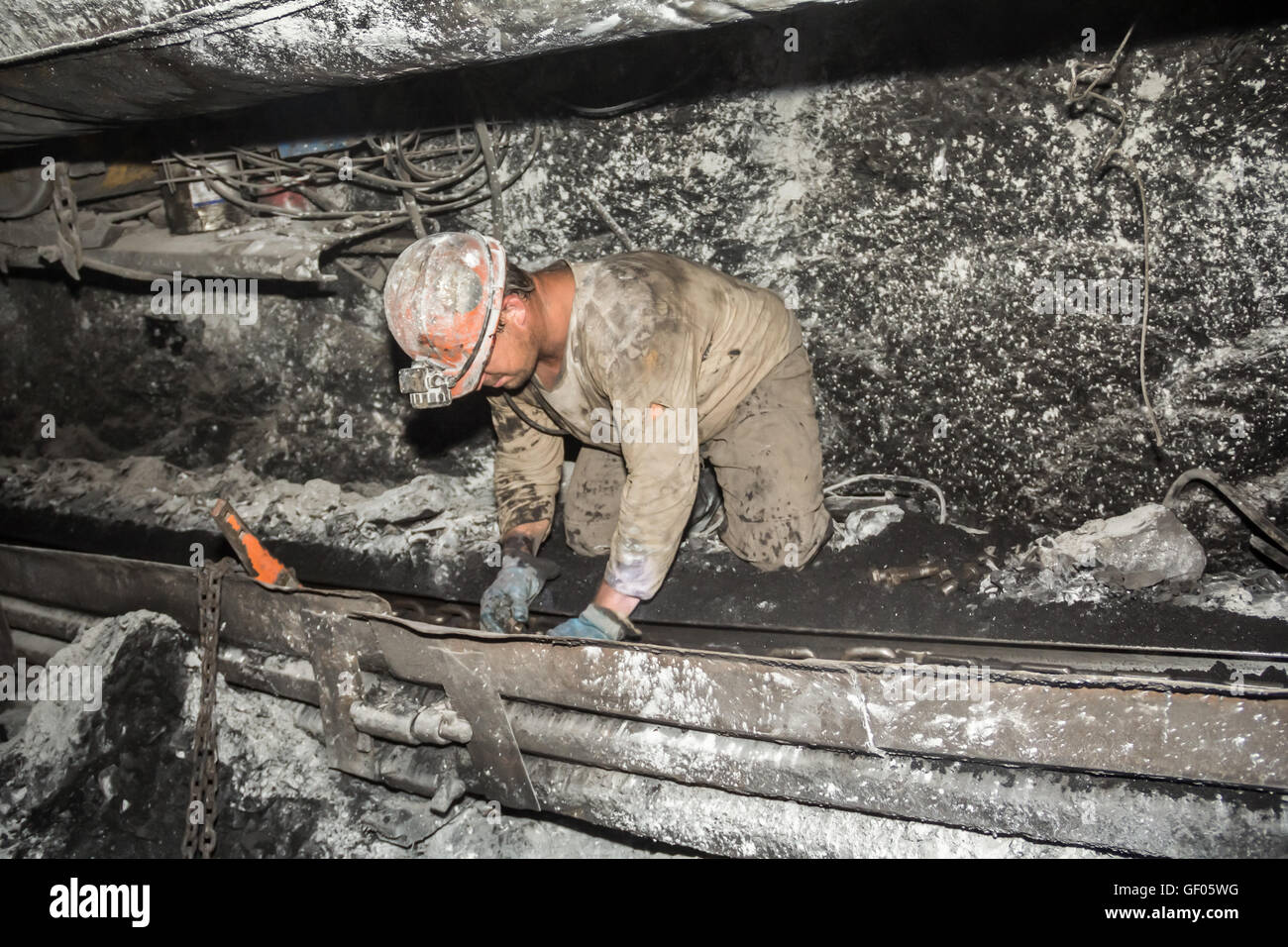 miner in a mine - Stock Image