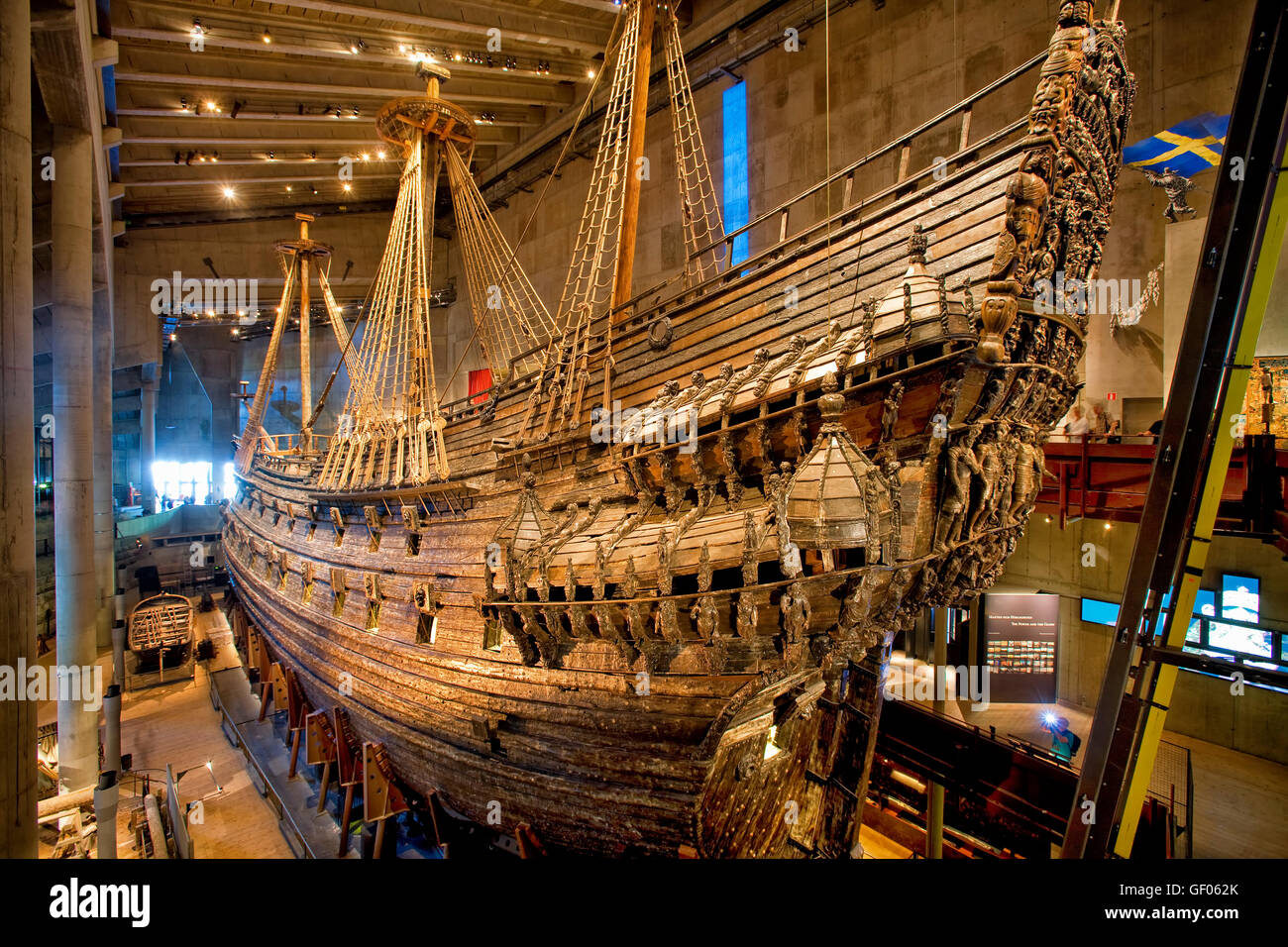The flagship Vasa in Vasa Museum, Djurgarden, Stockholm - Stock Image