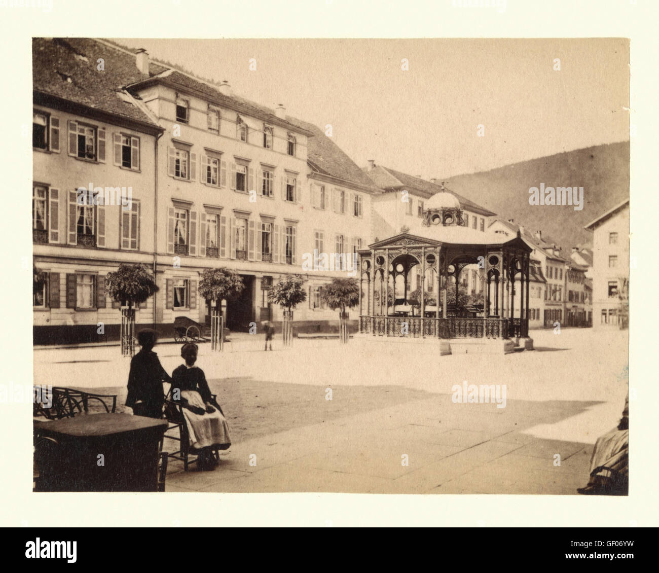 Town square and bandstand of a town in the Black Forest region of Germany, c. 1870. Possibly Calw. L Meder, Heidelberg - Stock Image