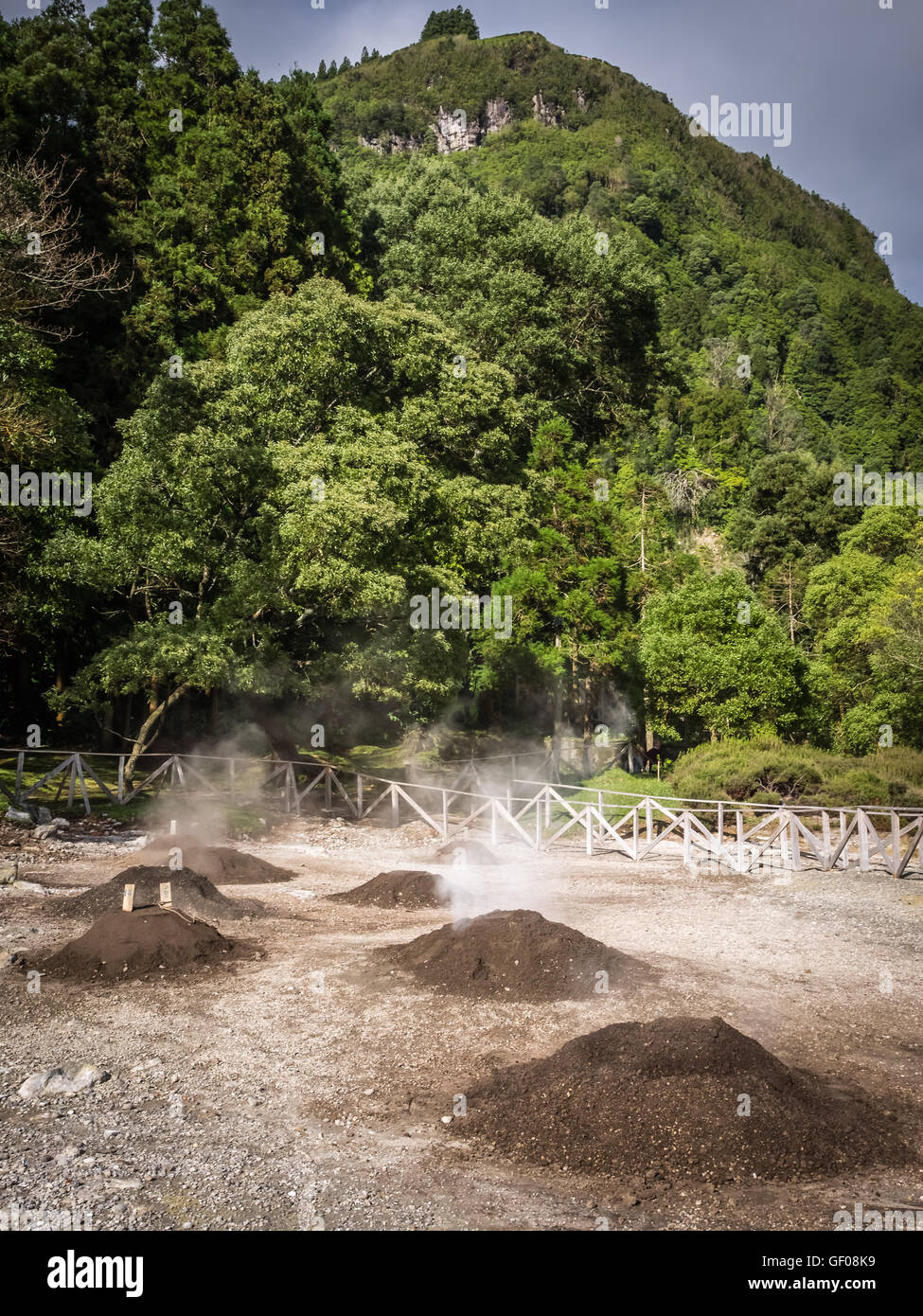 Geothermal hot water holes in Furnas, Sao Miguel, Azores, Portugal. These are used for cooking the traditional stew - Stock Image