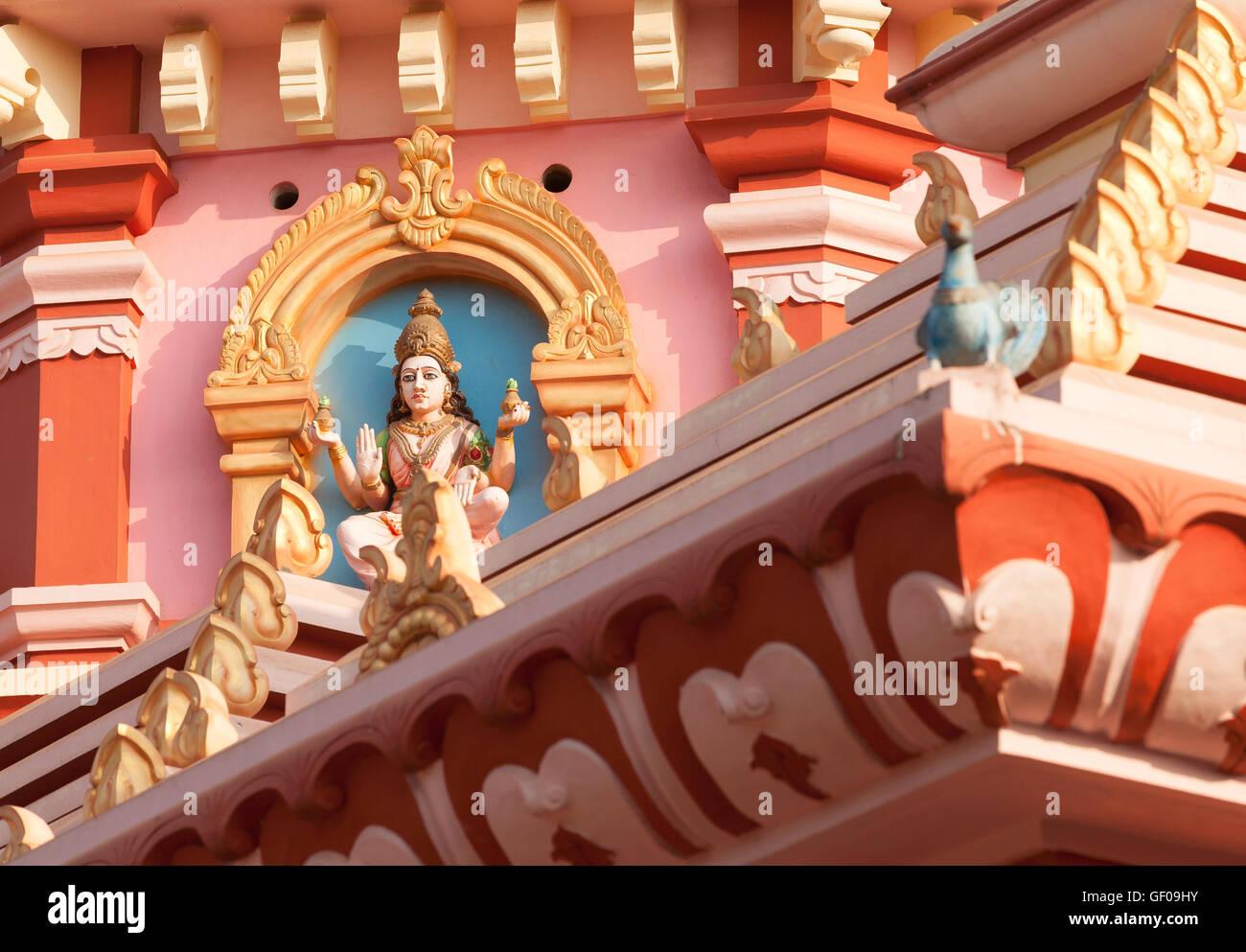 hindu temple detail india goa - Stock Image