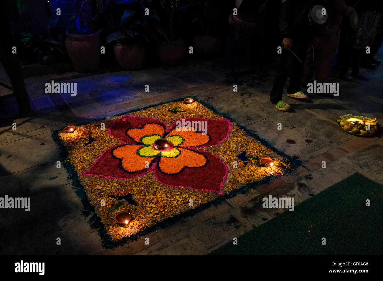 Flower and candle offerings for Diwali festival, Kathmandu, Nepal - Stock Image
